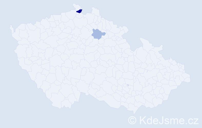Příjmení: 'Bomboš', počet výskytů 4 v celé ČR