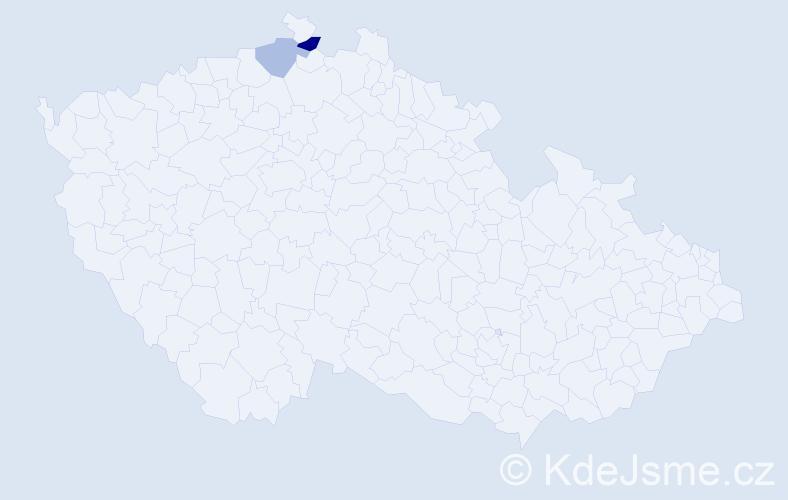 Příjmení: 'Gouda', počet výskytů 3 v celé ČR