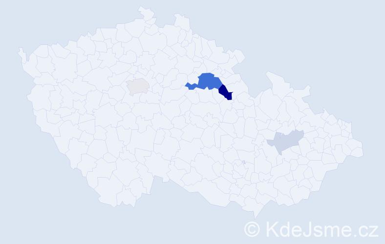 Příjmení: 'Kábr', počet výskytů 13 v celé ČR