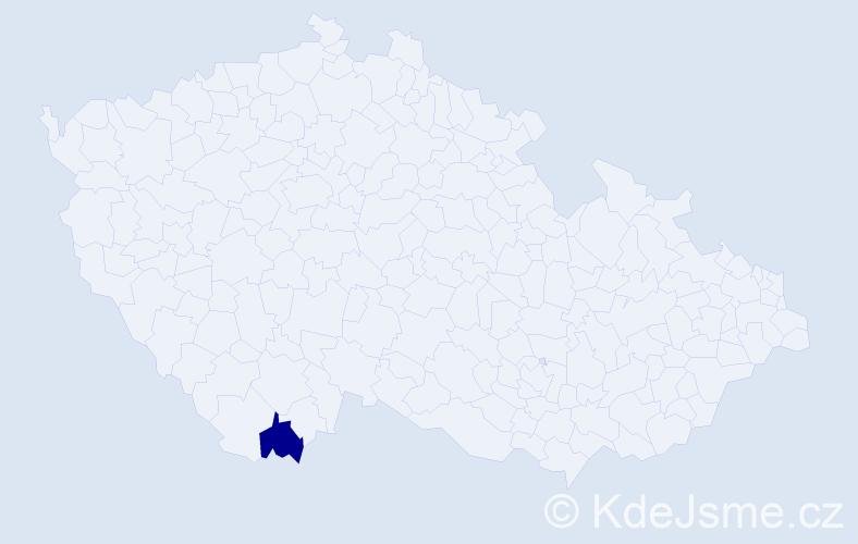 Příjmení: 'Čoučera', počet výskytů 1 v celé ČR