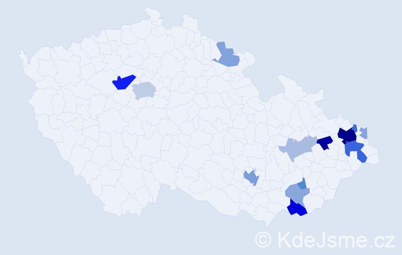 Příjmení: 'Babjaková', počet výskytů 36 v celé ČR