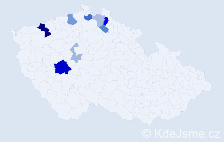 Příjmení: 'Gahler', počet výskytů 16 v celé ČR