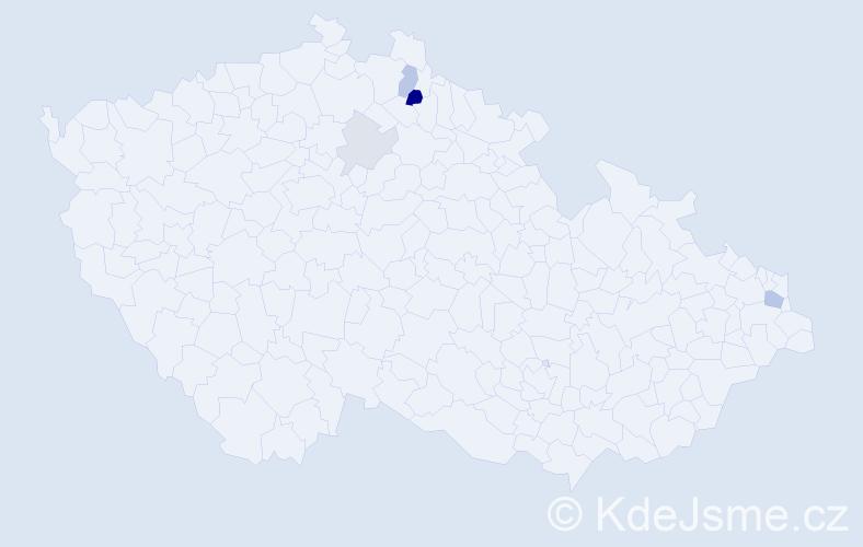 Příjmení: 'Daniček', počet výskytů 10 v celé ČR
