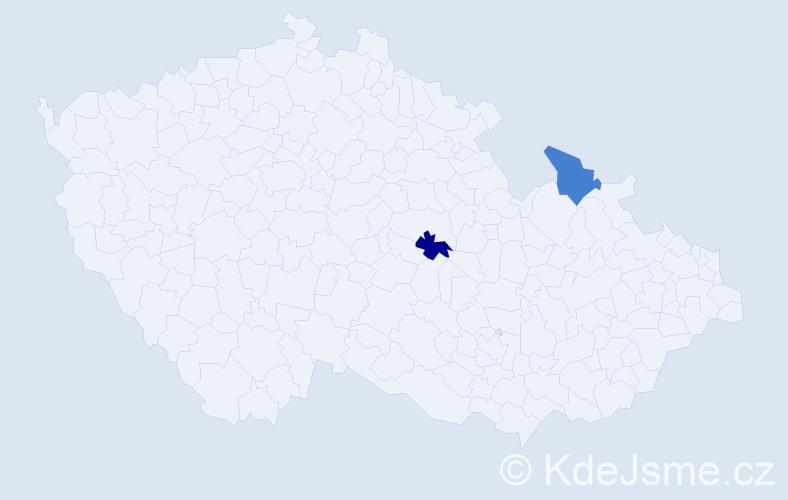 """Příjmení: '""""Blahová Procházková""""', počet výskytů 2 v celé ČR"""
