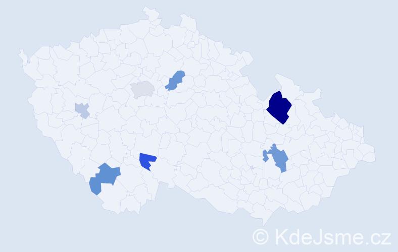 Příjmení: 'Juruš', počet výskytů 13 v celé ČR