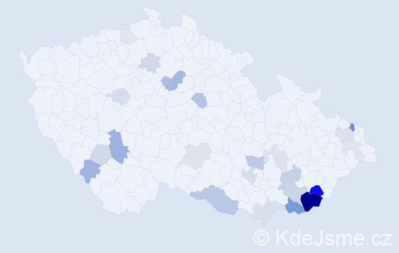 Příjmení: 'Kopuncová', počet výskytů 64 v celé ČR
