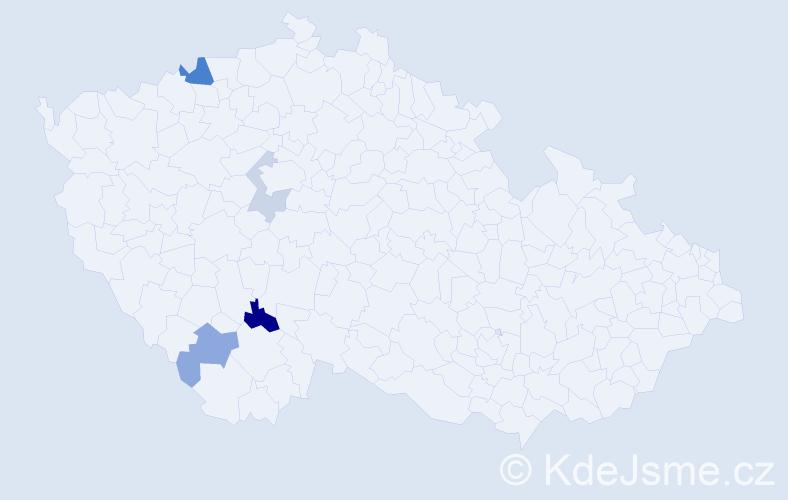 Příjmení: 'Ihnatková', počet výskytů 7 v celé ČR