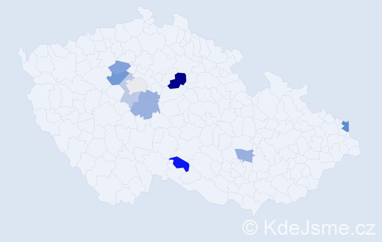 Příjmení: 'Hricíková', počet výskytů 16 v celé ČR