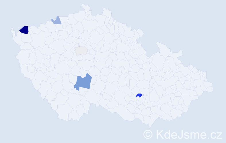 Příjmení: 'Kajdová', počet výskytů 9 v celé ČR