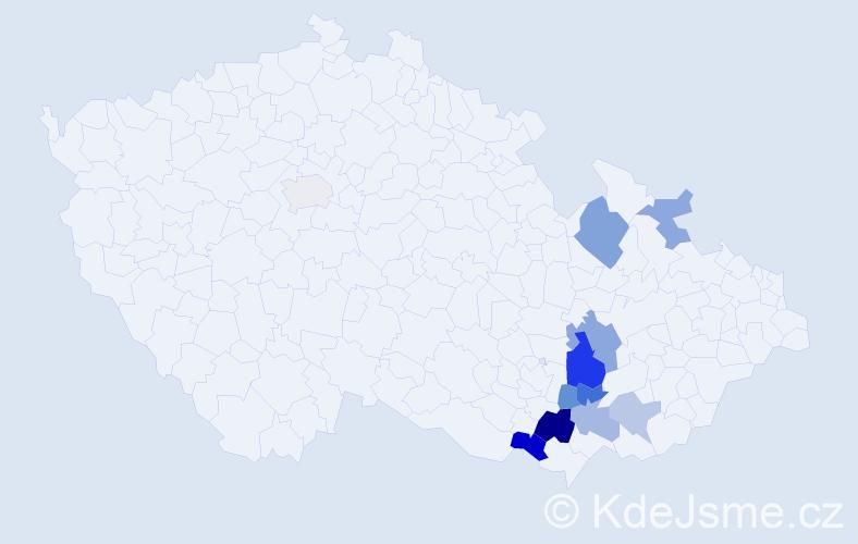 Příjmení: 'Babirád', počet výskytů 20 v celé ČR
