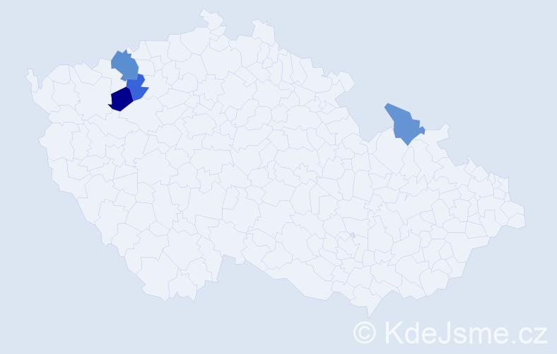 Příjmení: 'Harc', počet výskytů 5 v celé ČR