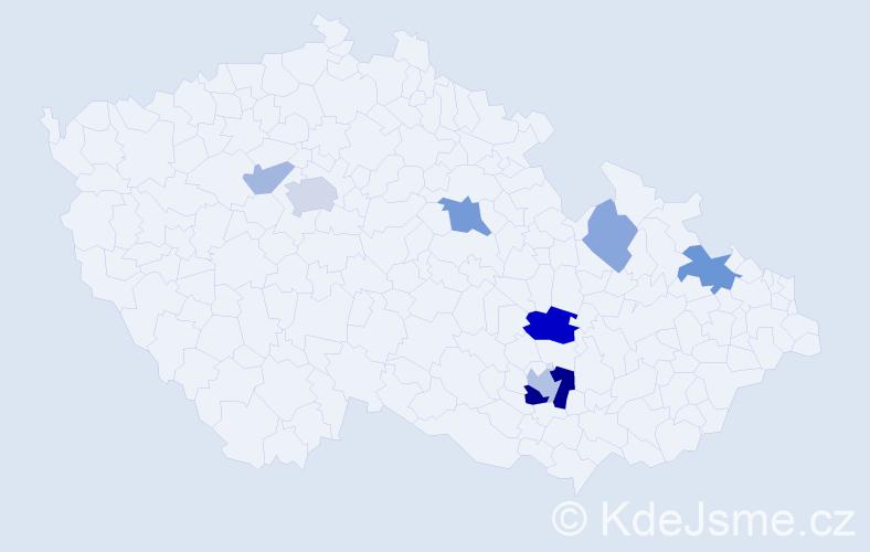 Příjmení: 'Habala', počet výskytů 18 v celé ČR