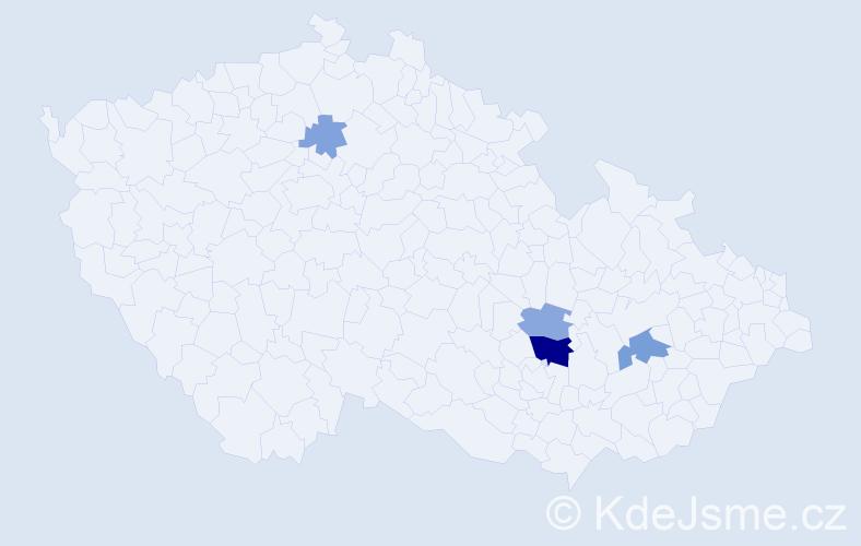 Příjmení: 'Broušek', počet výskytů 9 v celé ČR