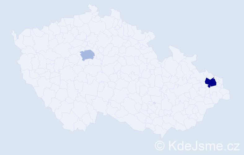 Příjmení: 'Bánska', počet výskytů 3 v celé ČR