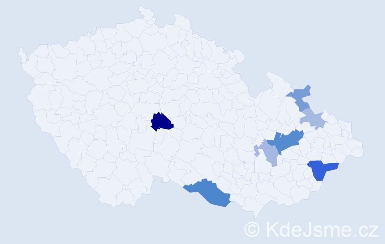 Příjmení: 'Čubáková', počet výskytů 15 v celé ČR