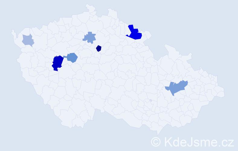 Příjmení: 'Géc', počet výskytů 18 v celé ČR