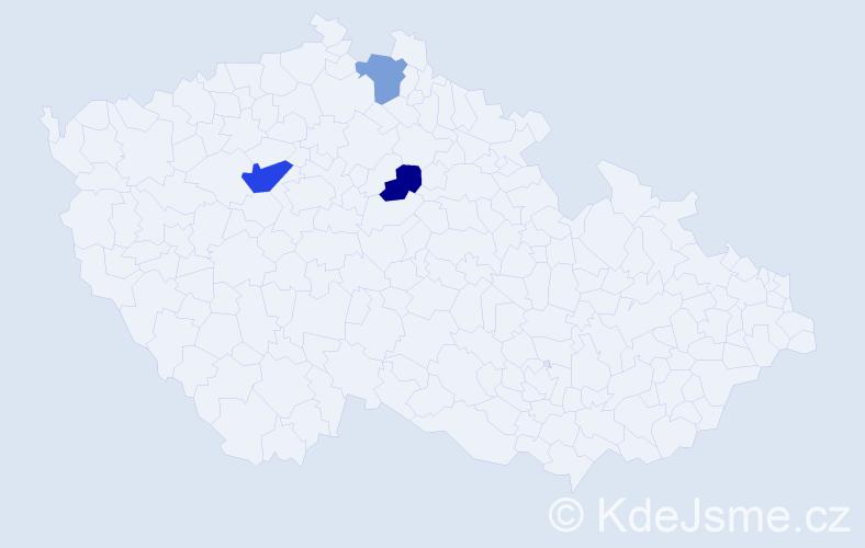 Příjmení: 'Cacara', počet výskytů 4 v celé ČR