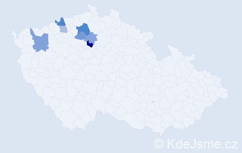Příjmení: 'Kokšálová', počet výskytů 13 v celé ČR