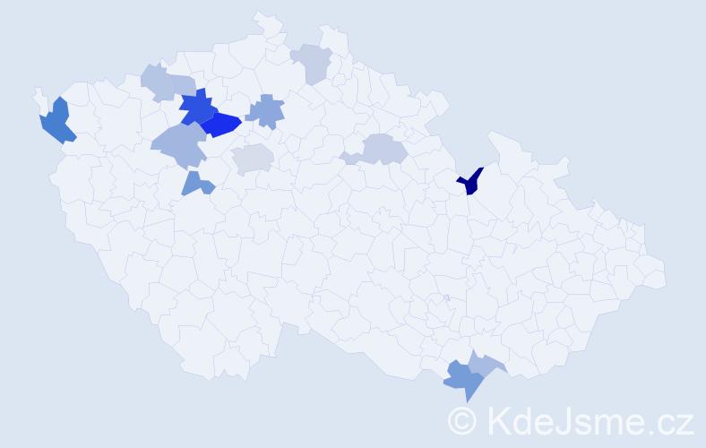 Příjmení: 'Laxa', počet výskytů 24 v celé ČR