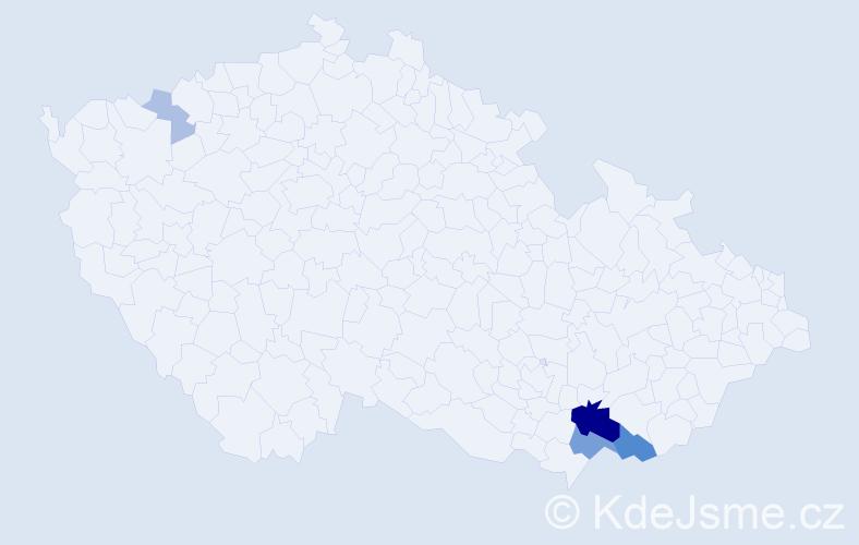 Příjmení: 'Iš', počet výskytů 16 v celé ČR