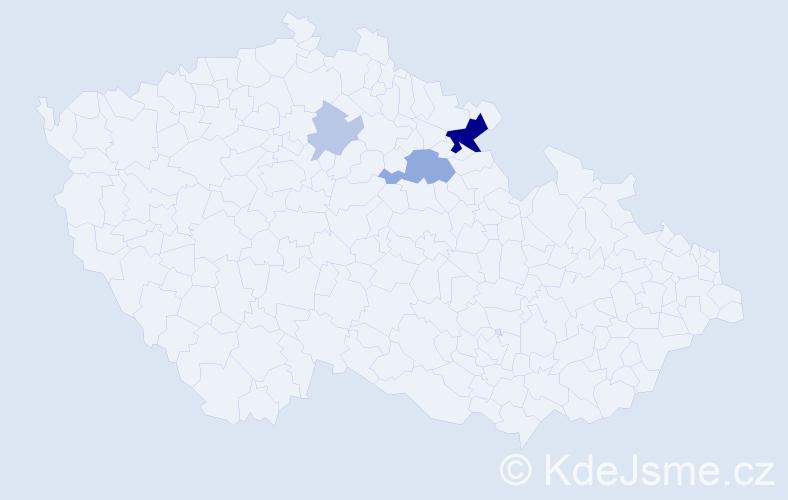 Příjmení: 'Eimerová', počet výskytů 9 v celé ČR