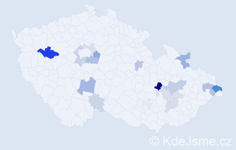 Příjmení: 'Čepec', počet výskytů 37 v celé ČR