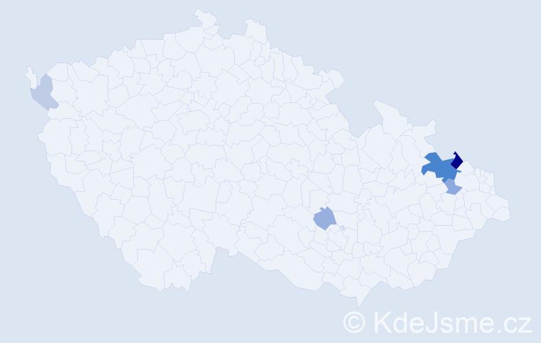 Příjmení: 'Káč', počet výskytů 15 v celé ČR