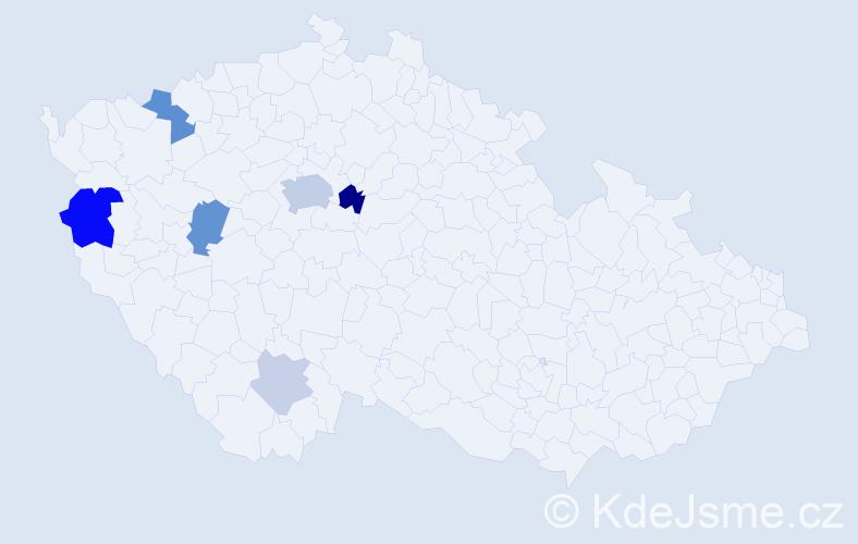 Příjmení: 'Dohányosová', počet výskytů 17 v celé ČR