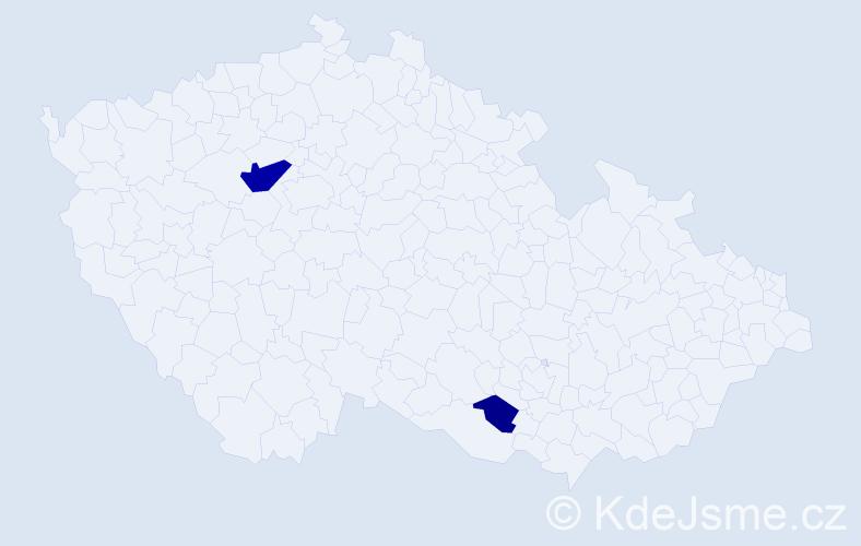Příjmení: 'Hefr', počet výskytů 5 v celé ČR