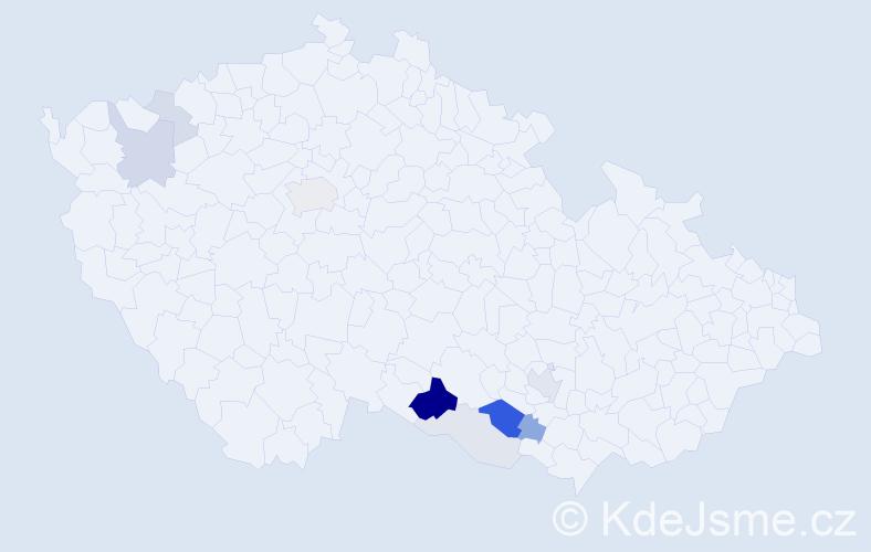 Příjmení: 'Klejdusová', počet výskytů 25 v celé ČR