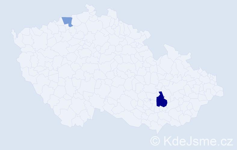 Příjmení: 'Heretík', počet výskytů 3 v celé ČR