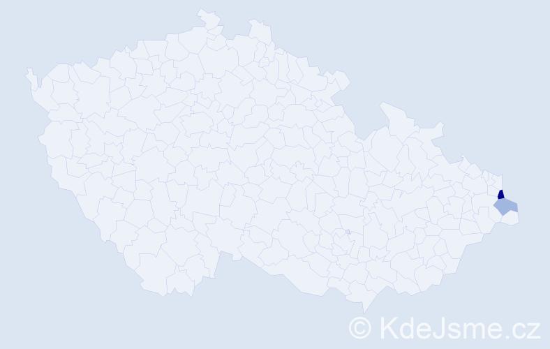 Příjmení: 'Hovjadský', počet výskytů 4 v celé ČR