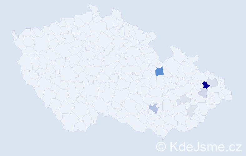 Příjmení: 'Bainarová', počet výskytů 26 v celé ČR