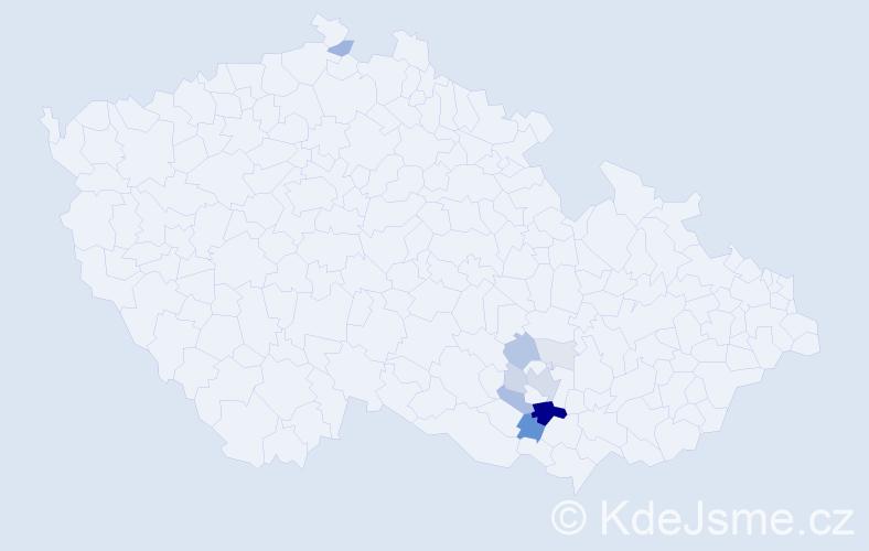 Příjmení: 'Maděránková', počet výskytů 36 v celé ČR