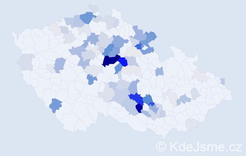 Příjmení: 'Koláčný', počet výskytů 299 v celé ČR