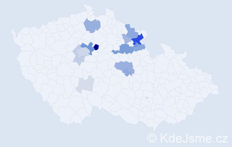 Příjmení: 'Česenek', počet výskytů 54 v celé ČR