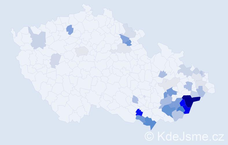 Příjmení: 'Hrabicová', počet výskytů 109 v celé ČR