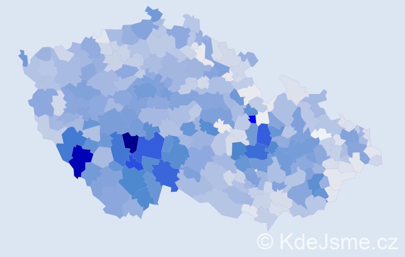 Příjmení: 'Kolář', počet výskytů 8383 v celé ČR