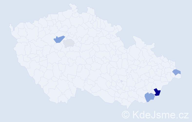 Příjmení: 'Cingálek', počet výskytů 8 v celé ČR
