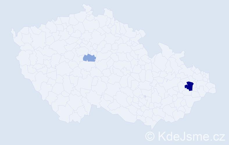 Příjmení: 'Alexandruk', počet výskytů 5 v celé ČR