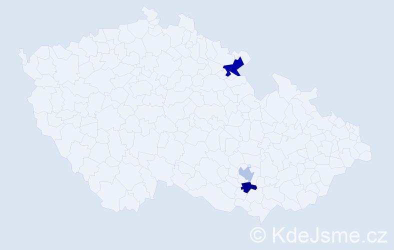 Příjmení: 'Dema', počet výskytů 4 v celé ČR