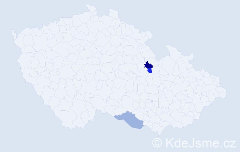 Příjmení: 'Čerebová', počet výskytů 4 v celé ČR