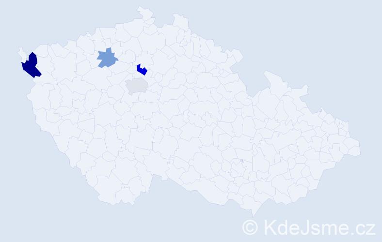 Příjmení: 'Čverhová', počet výskytů 9 v celé ČR
