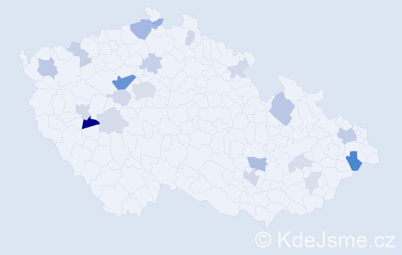 Příjmení: 'González', počet výskytů 52 v celé ČR