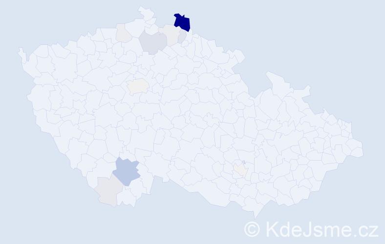 Příjmení: 'Ďuďová', počet výskytů 46 v celé ČR