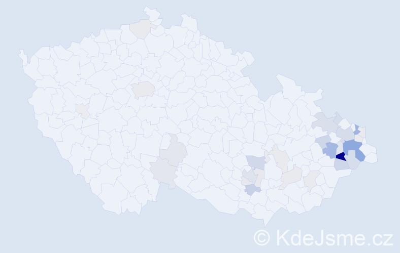 Příjmení: 'Knězková', počet výskytů 90 v celé ČR