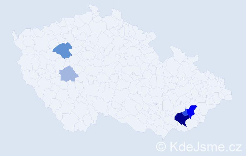 Příjmení: 'Cablíková', počet výskytů 18 v celé ČR