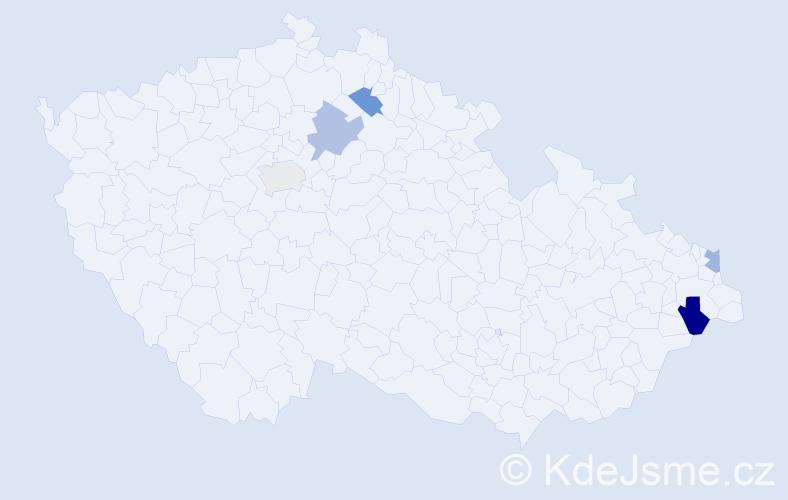Příjmení: 'Árpová', počet výskytů 6 v celé ČR