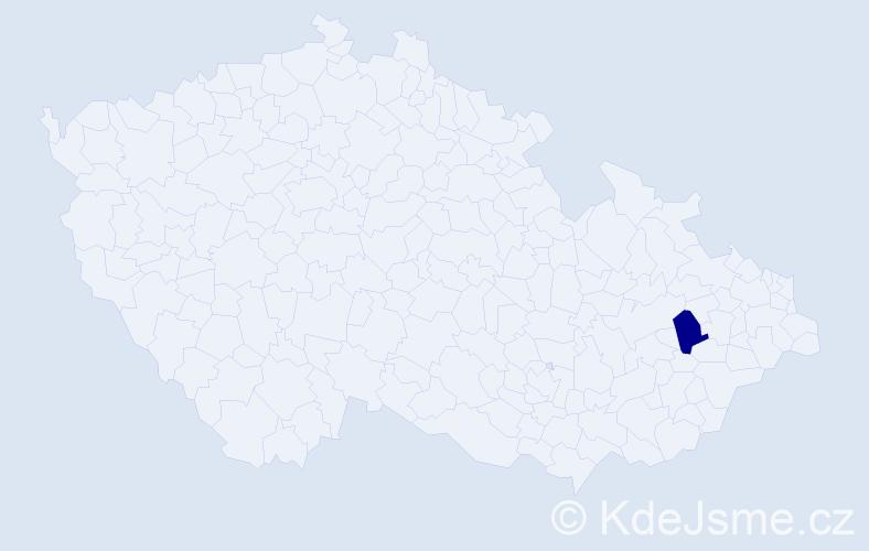 """Příjmení: '""""Huťová Mojžišová""""', počet výskytů 1 v celé ČR"""