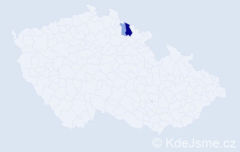 Příjmení: 'Dostová', počet výskytů 7 v celé ČR